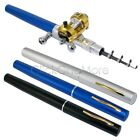 EZI - Telescopic Portable Pocket Aluminum Pen Fishing Tackle Rod Pole + Reel