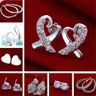 UK Hot Fashion Beautiful Gift 925SOLID SILVER Ladies Jewelry Earrings Stud + Box