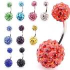 Shamballa Crystal & Surgical Steel disco ball Belly Bar 14G (1.6mm x 10mm)