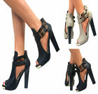 LADIES WOMENS PEEP TOE CUT OUT HIGH BLOCK HEELS GOLD BUCKLE SHOE BOOTS SIZE