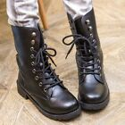 Womens Cowboy Western Lace Up Riding Ankle Boots Casual Chunky Low Heel Shoes Sz