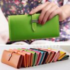 Womens PU Leather Bifold Card Holder Clutch Bag Wallet Hasp Purse Case Gift New