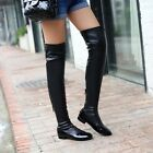 Women's COSPLAY STYLE HIGH THIGH FLAT LOW HEELS OVER THE KNEE HIGH RIDING BOOTS