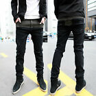 UK NEW Men's Black Grey Skinny Slim Fit Stretch Jeans Punk Denim Pants Trousers
