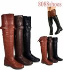Women's Fashion Low Heel Round Toe Buckle Thigh High Boot Shoes Size 5.5 - 11