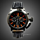 Fashion Men Man's Sport Analog Quartz Black Leather Band Wrist Watch