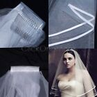 MMG - White or Ivory 2T Wedding Bridal Veil Satin Edge with Comb Elbow