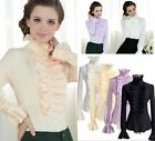 Fashion Victorian Women's Long Sleeves Tops High Neck Frilly Ruffle Blouse Shirt