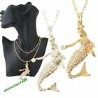 Women's Mermaid Pendant Necklace Gold/Silver Plated Rhinestone Mermaid Necklaces