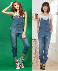 UK NEW Womens Denim Blue StoneWash Ripped Distressed Long Dungarees Jeans Pants