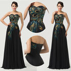 Strapless Peacock Applique Chiffon Ball Evening Prom Party Banquet Formal Dress