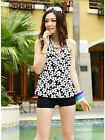 UK NEW 2 Piece Floral Blue Black Halter Neck Cupped Tankini Set Shorts Swimsuit