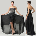 Vintage Formal Long Bridesmaid Wedding Gown High-Low Evening Prom Ball Dress NEW