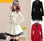 Sweet Women's Princess Lolita Gothic Double-breasted Coat Long Lace Parka Dress