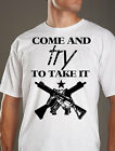 New Come and Try to Take It 2nd Amendment tshirt FRONT cool mens white tee shirt
