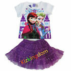 Disney Frozen Elsa and Anna Top Tee + Skirt Girl summer 2pcs Set SZ 2,3,4,5,6