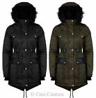 WOMENS NEW FAUX FUR HOODED JACKET LADIES WARM WINTER ZIP UP PARKA COAT