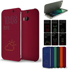 Premium Ultra Slim DOT VIEW FLIP COVER CASE For HTC ONE M8 HC M100 London Stock
