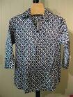 MISSES COTTON SILK BLEND BATIK TIE DYE PRINT BLOUSE TALBOTS 6 10