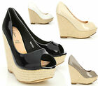 Womens Ladies Patent Woven Wedge Platform Peep Toe Espadrille Shoes Size (60FA02