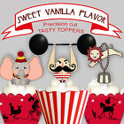 Vintage Circus Party EDIBLE 15 Cupcake Toppers 8 designs PRE-CUT cup cake