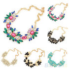 Celebrity Party Jewelry Flower Crystal Nobby Gold Chain Trendy Necklace Mosaic