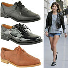 WOMENS LADIES BROGUES FLAT LACE UP SMART VINTAGE OXFORD PUMPS RETRO SHOES SIZE