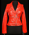 Ladies Brando Red Women's Biker Style Fashion Real Cow Hide Leather Jacket