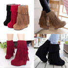 Women's Chic Platform Wedge Fringe Tassels Winter Wedge Heels Shoes Ankle Boots