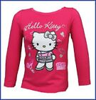 NEW!!!  GIRLS HELLO KITTY LONG SLEEVE TOP, DARK PINK   SIZES 3-8 YEARS AVAILABLE