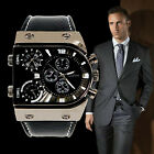 Mens Quartz Watches Military Army Three Time Zones Movements  Leather Sports