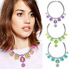 New Fashion Mixed Color Chunky Choker Crystal Flower Bib Statement Necklace hot