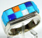 Handcrafted Multicolor Turquoise Corn Inlay 925 Sterling Silver Men's Ring 9-13