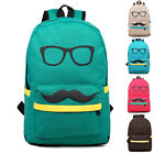 CHEAPEST Mustache Girl Boy Canvas School Backpack Travel Rucksack Shoulders Bag