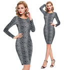 Women Sexy Leopard Work Career Cocktail Party Evening Club Bodycon Slim OL Dress