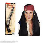 Mens Fancy Dress Up Costume Accessories SW Pirate SET- Wig w/ Beads & Toy Gun