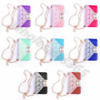 For Apple Samsung Bowknot PU Leather Clutch Strap Purse Flip Wallet Cases Covers