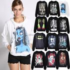Women's Skull Punk Rock T-shirt Undead Zombie Goth Tee Top Hoodie Pullover ItS7