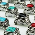 Hot Sale 5-30pcs Mix Turquoise Vintage Silver Women Mens Rings Wholesale Jewerly