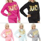 New Womens Quilted Fleece Juicy Print Tracksuit Sweatshirt Sport Top Size 8 10