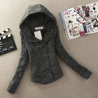 New Women's Autumn/Winter Slim Hooded Wool Coat Double Breasted Short Overcoat