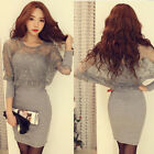 Korean Fashion Womens Dresses Party Dresses Long Sleeve Lace Sexy Slim Cocktail