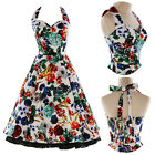 UK Vintage Halter Flower Style Prom Ball Party Swing Rockabilly Evening Dress