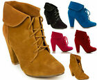 Ladies Women Lace Up Turn Over Mid Heel Casual Ankle Boots UK size (W6461)