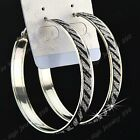 Hot Sale 6-12Pairs Big Zebra Frost Silver Hoop Earrings Wholesale Jewelry Lots