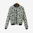 New Blue Floral Flower Women's Jacket Bomber Winter Ladies Zipper Coat Top S/M/L