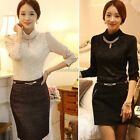 With Chain! Womens Lady Crew Neck Lace T-shirt Long Sleeve Shirt Tops Blouse