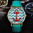Women's Men's Geneva Stripes Print Leather Band Analog Quartz Wrist Watches New