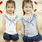 Cute Toddlers Kids Girls Crew Neck Short Sleeve Tie Print T-Shirt Tops Clothes