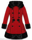 VICTORIAN RED COAT GOTHIC HELL BUNNY FUR HOODED VINTAGE 50s STEAMPUNK 2014 NEW